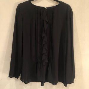 Women's Sheer Black Pleated Single Ruffle Blouse